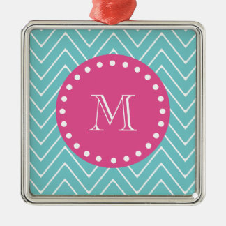 Hot Pink, Teal Blue Chevron | Your Monogram Christmas Tree Ornaments
