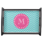 Hot Pink, Teal Blue Chevron | Your Monogram Food Tray