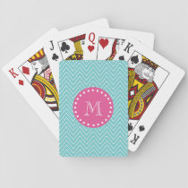 Hot Pink, Teal Blue Chevron | Your Monogram Playing Cards