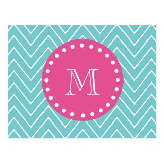 Hot Pink, Teal Blue Chevron   Your Monogram Postcard