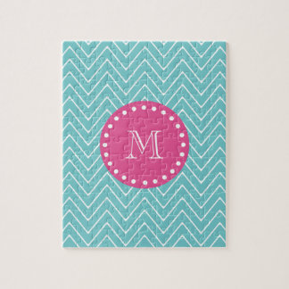 Hot Pink, Teal Blue Chevron   Your Monogram Puzzles