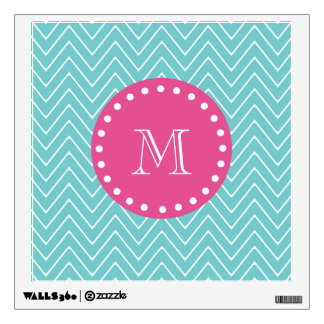 Hot Pink, Teal Blue Chevron | Your Monogram Wall Sticker
