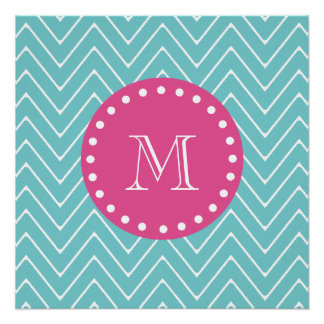 Hot Pink, Teal Blue Chevron | Your Monogram Perfect Poster