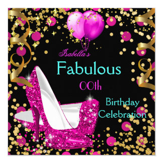 Hot Pink Teal Blue High Heels Birthday Party 2 Card