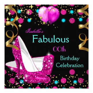 Hot Pink Teal Blue High Heels Birthday Party Card