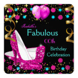 Hot Pink Teal Blue High Heels Birthday Party 5.25x5.25 Square Paper Invitation Card