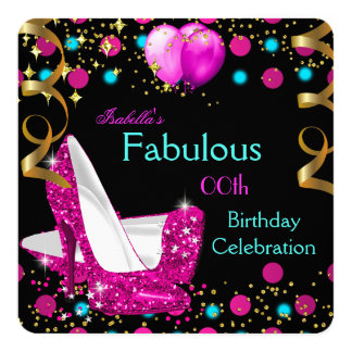 Hot Pink Teal Blue High Heels Birthday Party Invitation
