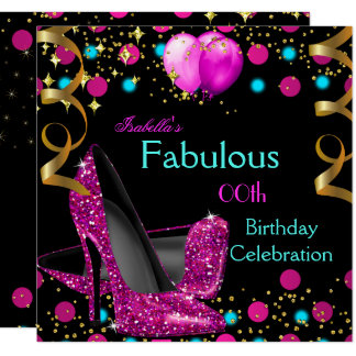 Hot Pink Teal Blue High Heels Shoes Birthday Party Card