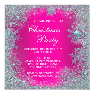 Hot Pink Teal Blue Snowflake Christmas Party Card