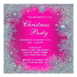 Hot Pink Teal Blue Snowflake Christmas Party Custom Announcements