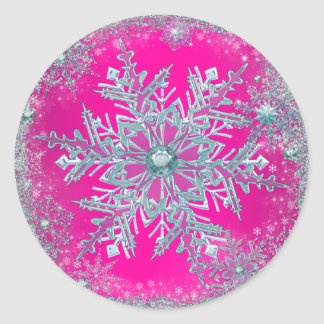 Hot Pink Teal Blue Snowflake Stickers