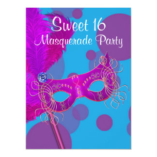 Hot Pink Teal Blue Sweet 16 Masquerade Party Card