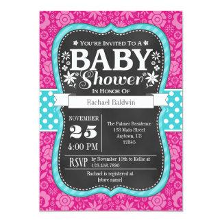 Hot Pink Teal Chalkboard Floral Baby Shower Invite