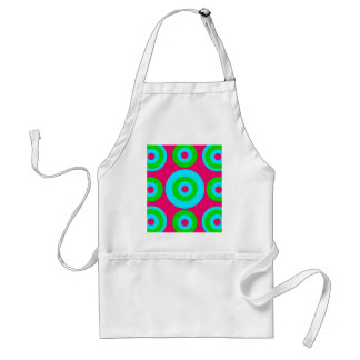 Hot Pink Teal Lime Green Concentric Circles Adult Apron
