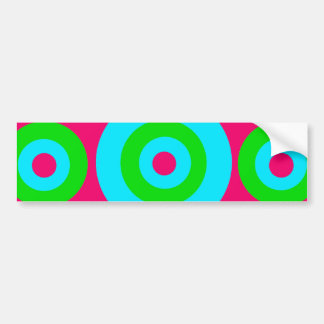 Hot Pink Teal Lime Green Concentric Circles Bumper Sticker