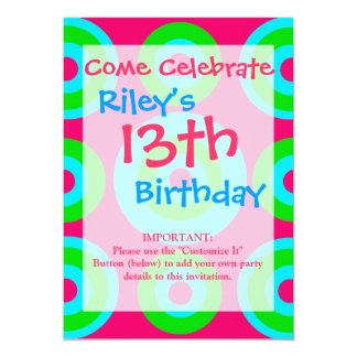 Hot Pink Teal Lime Green Concentric Circles Card