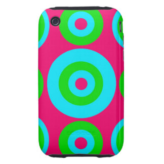 Hot Pink Teal Lime Green Concentric Circles Tough iPhone 3 Covers