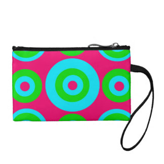 Hot Pink Teal Lime Green Concentric Circles Coin Wallet