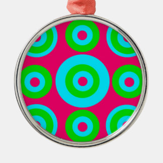 Hot Pink Teal Lime Green Concentric Circles Metal Ornament