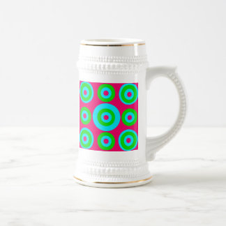 Hot Pink Teal Lime Green Concentric Circles 18 Oz Beer Stein