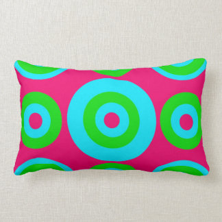 Hot Pink Teal Lime Green Concentric Circles Throw Pillow
