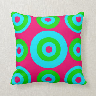 Hot Pink Teal Lime Green Concentric Circles Throw Pillows