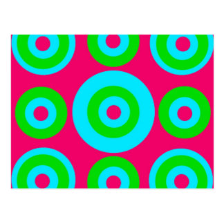 Hot Pink Teal Lime Green Concentric Circles Postcard