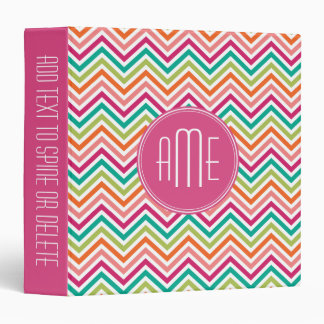 Hot Pink Teal Orange Chevrons Custom Monogram 3 Ring Binder