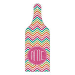 Hot Pink Teal Orange Chevrons Custom Monogram Cutting Board