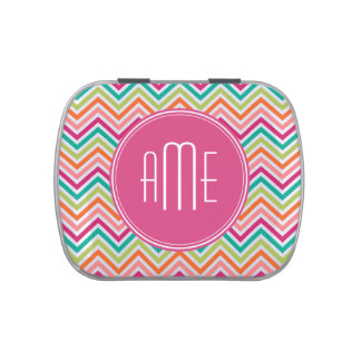 Hot Pink Teal Orange Chevrons Custom Monogram Jelly Belly Tins