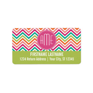 Hot Pink Teal Orange Chevrons Custom Monogram Label