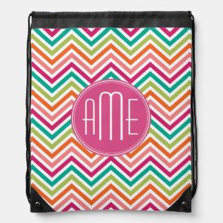 Hot Pink Teal Orange Chevrons Custom Monogram Drawstring Backpack
