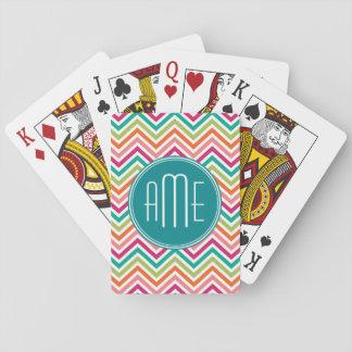Hot Pink Teal Orange Chevrons Custom Monogram Poker Cards