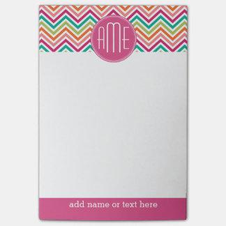Hot Pink Teal Orange Chevrons Custom Monogram Post-it Notes