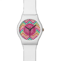 Hot Pink Teal Orange Chevrons Custom Monogram Wrist Watch