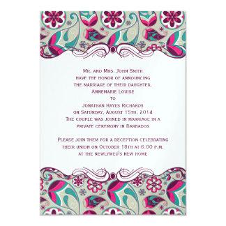 Hot Pink Teal Paisley Post Wedding Invites