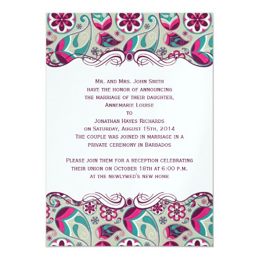 Hot Pink Teal Paisley Post Wedding 5x7 Paper Invitation Card
