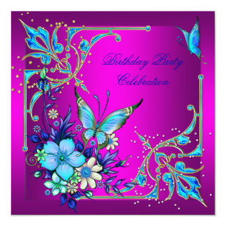 Hot Pink Teal Royal Blue Butterfly Birthday Party Card