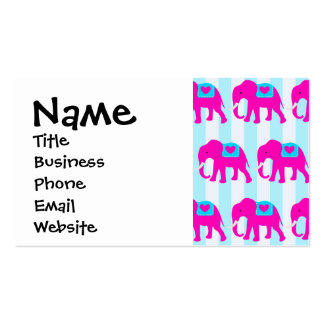 Hot Pink Teal Turquoise Blue Elephants on Striped Business Card