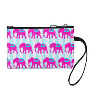 Hot Pink Teal Turquoise Blue Elephants on Striped Coin Purse