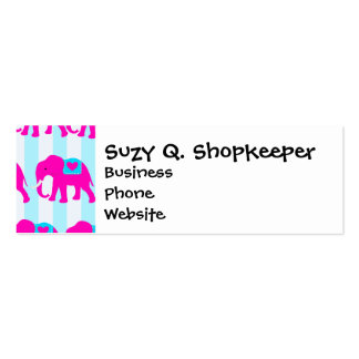 Hot Pink Teal Turquoise Blue Elephants on Striped Mini Business Card