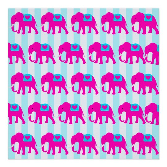 Hot Pink Teal Turquoise Blue Elephants on Striped Poster