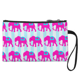Hot Pink Teal Turquoise Blue Elephants on Striped Wristlet Wallet