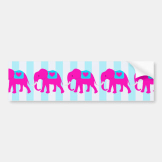 Hot Pink Teal Turquoise Blue Elephants on Stripes Bumper Sticker