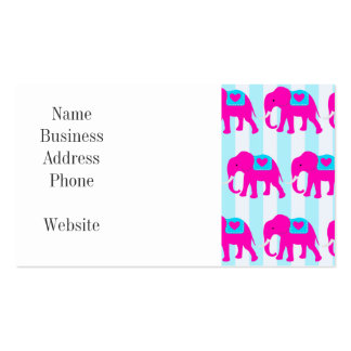 Hot Pink Teal Turquoise Blue Elephants on Stripes Business Card