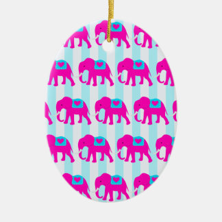 Hot Pink Teal Turquoise Blue Elephants on Stripes Ceramic Ornament