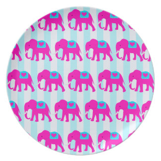 Hot Pink Teal Turquoise Blue Elephants on Stripes Dinner Plate