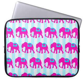 Hot Pink Teal Turquoise Blue Elephants on Stripes Computer Sleeves