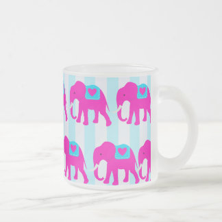 Hot Pink Teal Turquoise Blue Elephants on Stripes 10 Oz Frosted Glass Coffee Mug
