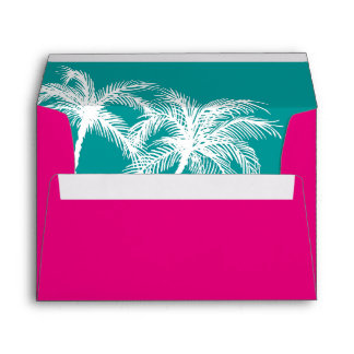 Hot Pink Teal Wedding | Tropical Envelope Liner